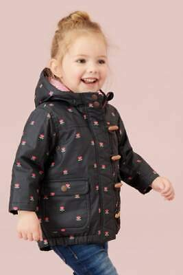 NEXT Navy Ditsy Jacket Girls Flower Print Coat With Hood & Toggles 6-7 Y RRP £36