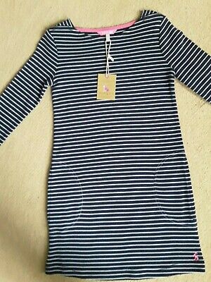 Joules jersey navy striped girl's dress - age 7-8