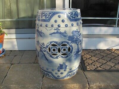 "local p/u VINTAGE CHINESE 4 MARKS PORCELAIN 19"" 32lbs BARREL GARDEN STOOL SEAT"