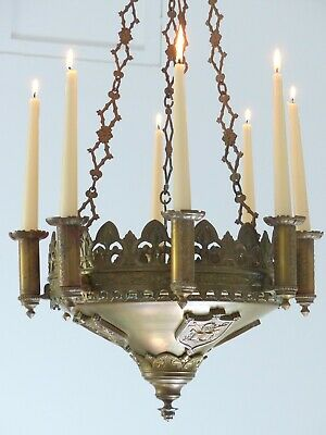 19TH French Church Bronze & Brass Chandelier candle holders Religious neo gothic