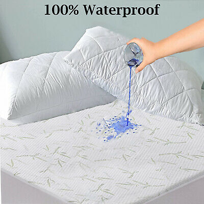 New Waterproof Bamboo Mattress Pad Protector Soft Topper Pet Bed Cover  All Size