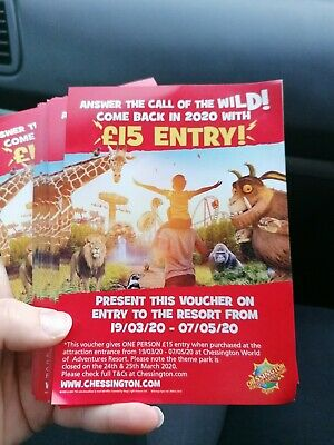 Chessington discount entry tickets for half term and other dates! 1 per entry!