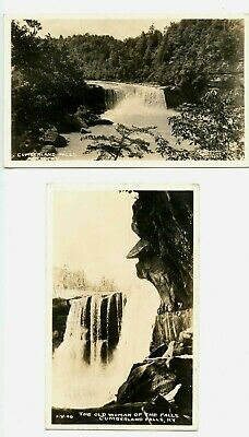 2 Cumberland Falls RPPC postcards - Old Lady of the Falls - Kentucky