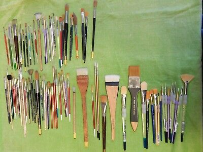 Job Lot 85 Artist's Brushes Watercolour Acrylic Oil Painting New Used, Sable etc
