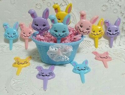12 Vintage Easter Bunny Cupcake Picks Toppers Puffy Plastic Decorations