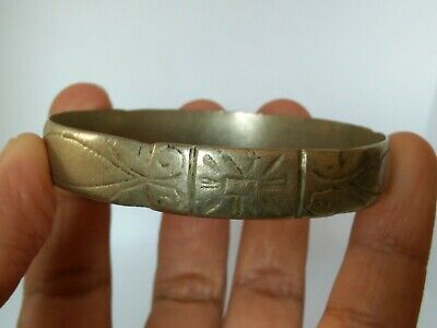 Rare Extremely Ancient Viking Bracelet Metal Color Silver Artifact Authentic