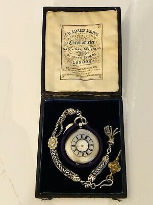 F.B. Adams and Sons Pocket Watch St. Johns Square London Half Hunter Case Silver