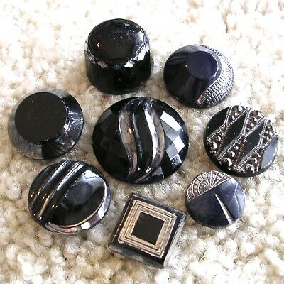 Eight glamorous antique art deco black glass buttons w/silver luster