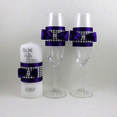 Wedding Set - Colour Selection, Hochzeitsgläser, Candle with Name and Datum.
