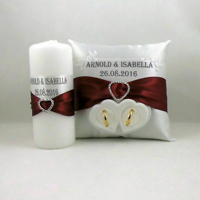 Ringpillow with Name and Date, Box for Wedding Ring Wedding Candle Wedding