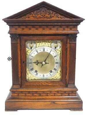 Antique Quarter Striking Bracket Clock Brick Faced 8 Day Ting Tang Mantel Clock