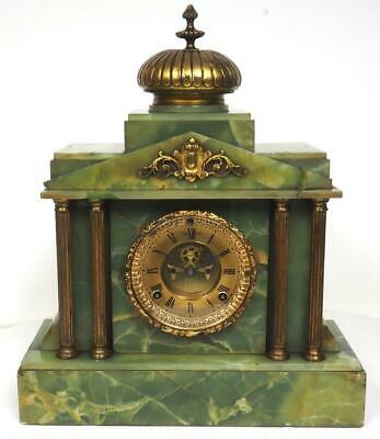 Antique Onyx Mantel Clock Marble Gilt Regulator Mantle Clock Visible Escapement
