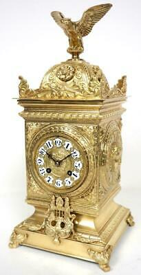 Antique French 8 Day Bell Striking Mantel Clock Bronze Ormolu Cube Clock C1880