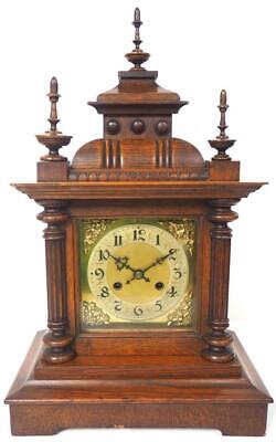 Good Antique Oak Mantel Clock 8 Day Striking Bracket Clock Caved Case C1900