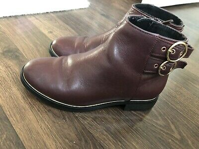 Girls Zara Chelsea Boots Burgandy 28 Real Leather