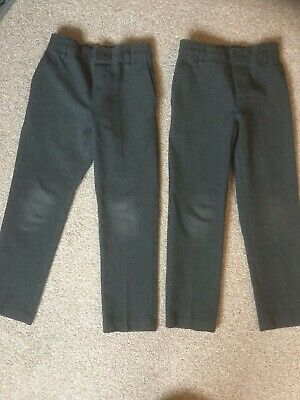 M&S Boys Skinny Grey School Trousers X 2  -  Age 4-5 Years