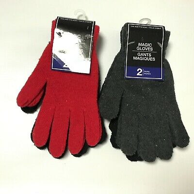 4 Pairs Magic Gloves Womens Mens Winter Knit Gloves Gray Black Red Cold Gear New