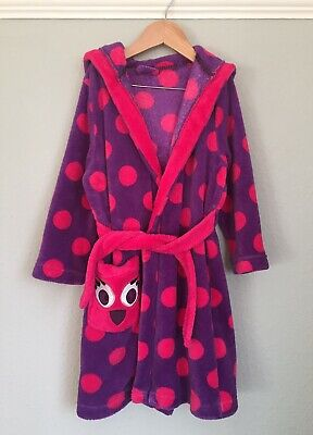 Girls TU sainsbury Dressing Gown Age 5-6 Years. Purple And Pink Spots Character