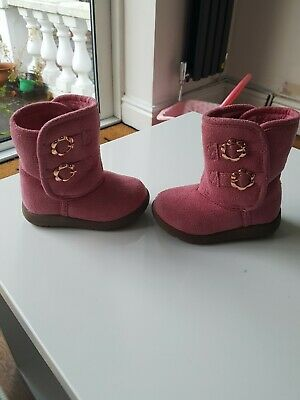 Mothercare Girls Boots Navy And Pink Size 4 VGC
