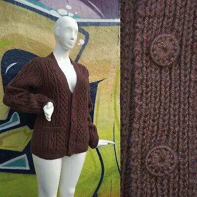 Vintage Aran Cable Hand-knitted Wool Brown  Cardigan Handmade Buttons L Unworn