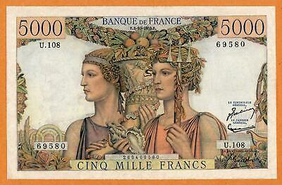 France 5000 Francs Terre Et Mer 1952 Vf Large Size Note Rare & Beautiful Look