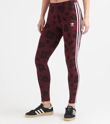 Adidas Originals Women's Allover Print Tights NEW AUTHENTIC Maroon /Black EC1908