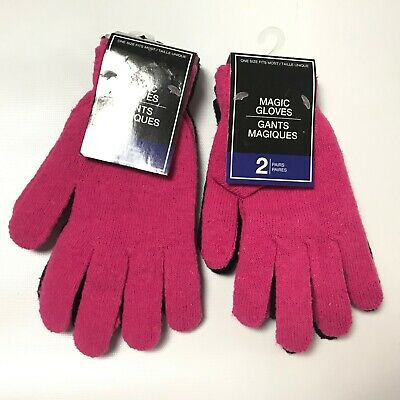 4 Pairs Magic Gloves Womens Winter Knit Gloves Black Pink Cold Gear Juniors New