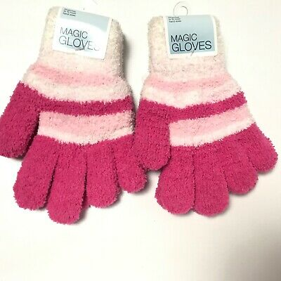 2 Pairs Magic Gloves Womens Winter Knit Gloves Pink Thick Cold Gear Striped New