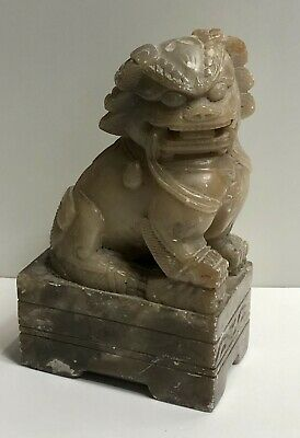 "Carved Foo Dog Lion Temple Statues 5"" Jade Feng shui"