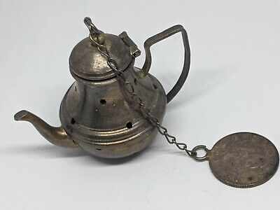 Sterling Silver Mini Tea Pot Tea Infuser Strainer Columbian 1934 Diez Centavos