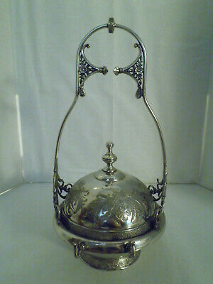 Victorian butter dish w hanging lid silver plate includes insert Mechanical