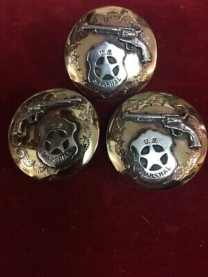 "Scarf Slide & Conchos set: U.S. Marshal & 6 Gun,  1 1/2""  Brass w/ Sterling"