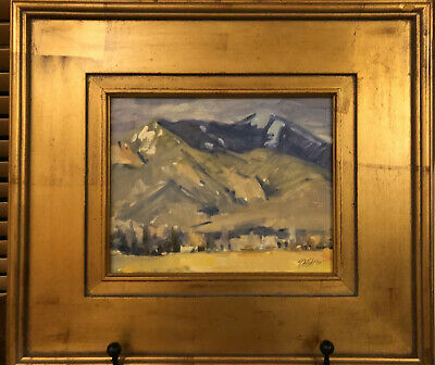 Signed TIM DEIBLER Oil On Board Painting TAOS GALLERY Gold Leaf Frame LANDSCAPE