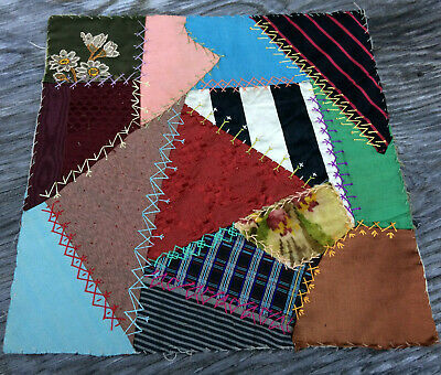 ANTIQUE 1893 Crazy QUILT SQUARE BLOCK Hand Stitched Embroidery