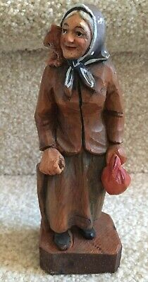 "Dobin Switzerland Carved Wood Old Lady with Cane and Cat  6 1/4"" Tall FREE SHIP"