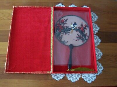 Vintage Beautiful Japanese Hand Embroidered Hand Fan In Original Box Rare