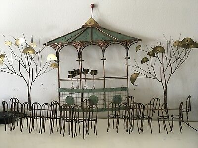 "Curtis Jere Signed Century Modern Metal Wall Sculpture ""Bandstand Pagoda Gazebo"""