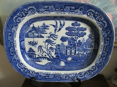 Antique Ridgway England Semi China Ironstone Blue Willow Platter 15.5""