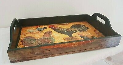Large Decoupage ROOSTER Design 2 handle Rectangle Tea Serving WOOD TRAY