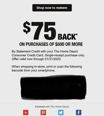 One (1x) Home Depot $75 off $500 Purchase With Home Depot Credit Card