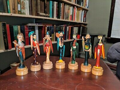 VTG Handmade / Painted Wooden Chinese Statue Figures