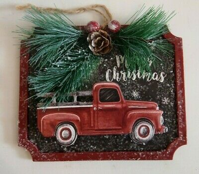 Vintage Red Truck Christmas Tree Ornament Pine Cone Merry Christmas Sign