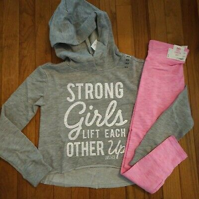 NWT Justice Girls Outfit Sparkle Hoodie/Leggings Size 14 16