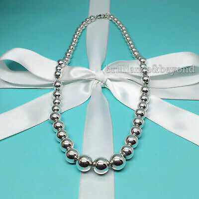 Tiffany & Co. Graduated Bead Ball Necklace 925 Sterling Silver Authentic Pouch