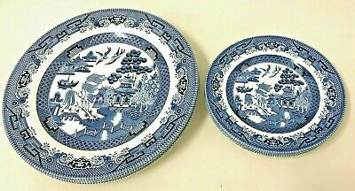 Churchill England Dinner Plate and Bread Plate Set of 6 Each Blue Willow