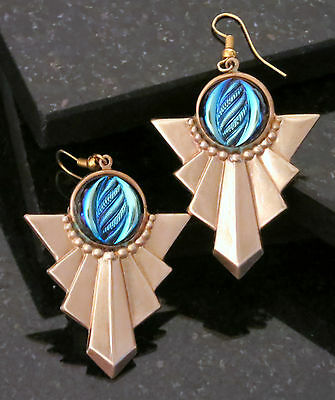 Earrings Art Deco Vintage Antiqued Brass Scarab Electric Turquoise Blue Cab