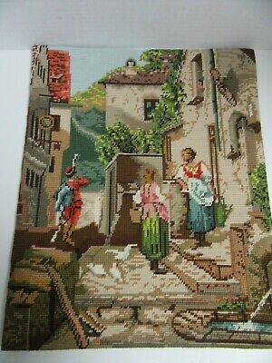 """Finished Needlepoint Framed Street Scene Italy Completed 19.5x22.5"""""""