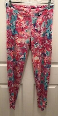 C9 by Champion Pants Girls XL 14/16 Pink Floral Cutout Legs Athletic Leggings