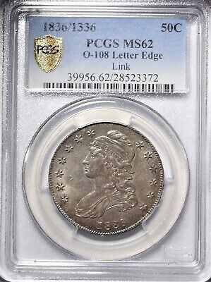 1836/1336 50c PCGS MS 62 Choice Uncirculated Capped Bust Half Dollar LINK O-108