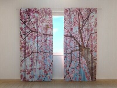 Window 3d Curtain Sakura Blooming from Bottom Up Wellmira Made to Measure